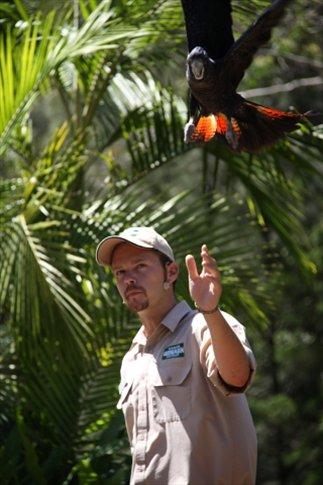 Adam en su show de pajaros en el zoo donde trabaja