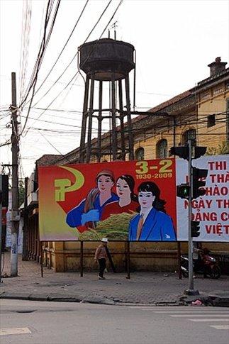 Propaganda del Partido en las calles de Hanoi
