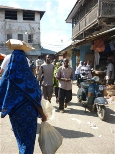 This photo captures much of the Zanzibar market ambience