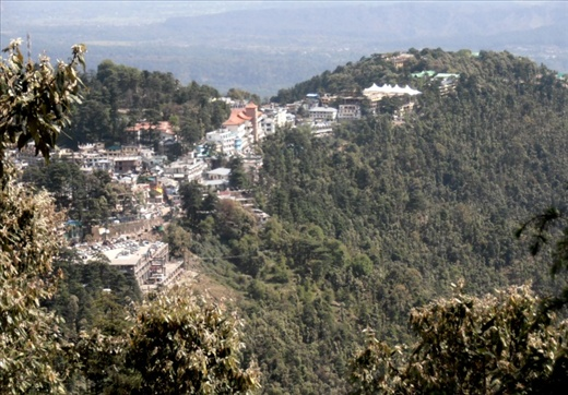 McLeod Ganj, perched on a spur of land overlooking the Kangra valley