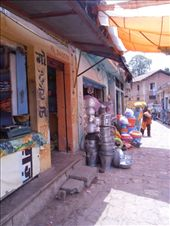 The narrow shopping street in Pragpur. Note the cobblestones: by flyingpiglet, Views[697]