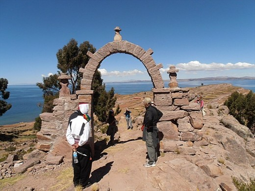 Taquile Island, gate with guardian figures
