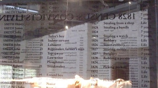 The Barracks are now an excellent and vivid museum, restored to its early 1800's appearance and recently named a World Heritage Site.   The top floor lists a sample of convicts and their crimes - and punishments. They are listed on a glass panel so a bit hard to read, but a couple samples: