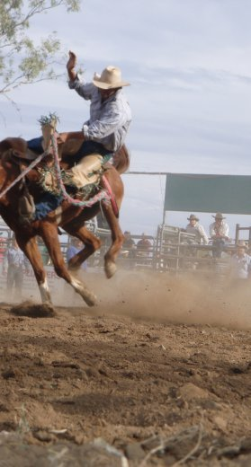 Nick about to hit the dust - Fitzroy Crossing rodeo