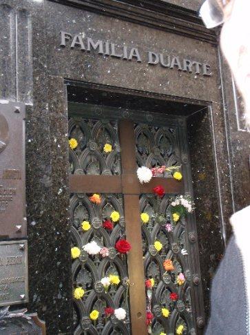 Grave of Eva Peron (aka Evita).   Recoleta Cemetary.  Buenos Aires, Argentina.