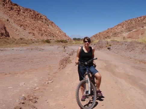 Jen is a better bike rider than me.  San Pedro de Atacama, Chile.