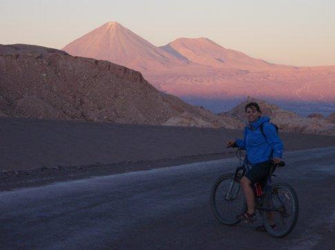 Riding into the night.  San Pedro de Atacma, Chile.