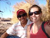 The waiter we befriended in Chile.  Here we´re having a beer by the river, but if you notice, there is no water in the river.  Literally.  San Pedro de Atacama, Chile.: by forgettable_blue, Views[189]