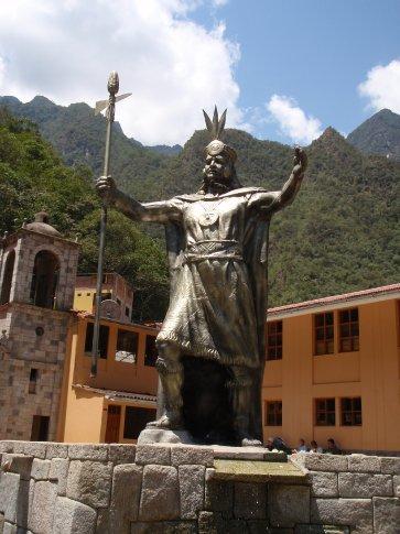 In the plaza.  Agua Caliente, Peru.