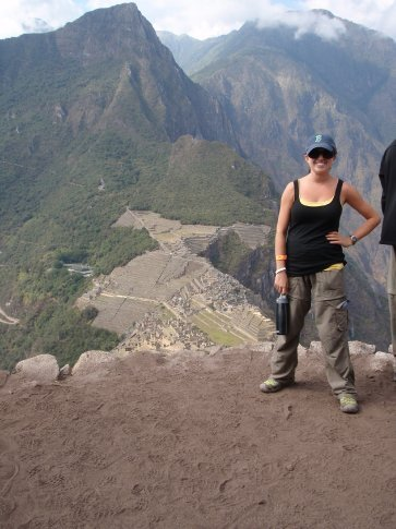 We used to be down there.  That means I climbed that.  I hate stairs.  Machu Picchu, Peru.