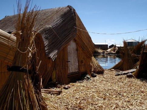 Hut on a floating island Lake Titicaca, Peru