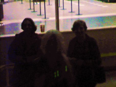 3 shadowy figures as seen from the bus in the night light