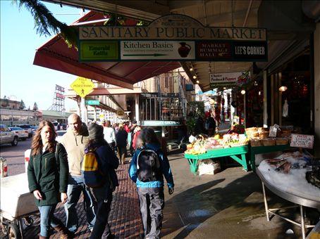 Frances and Barbara walking through Seattle