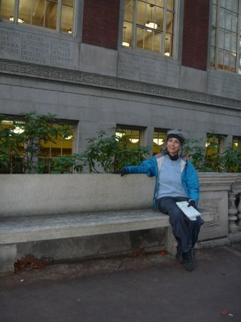 The benches outside the Portland library all have authors' names on them
