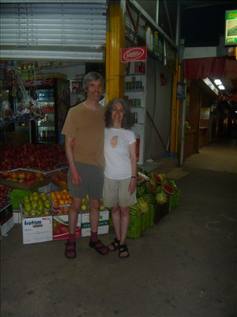 Charley took our picture in front of the fruit stand near the Hotel Chirripo.