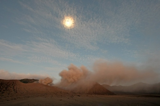 The smoking Mt.Bromo in the moonlight