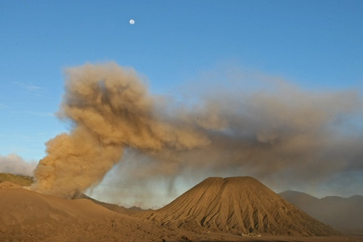 Mt. Bromo after sunrise with the moon