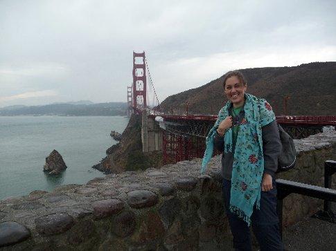 me at the bridge, in the rain!