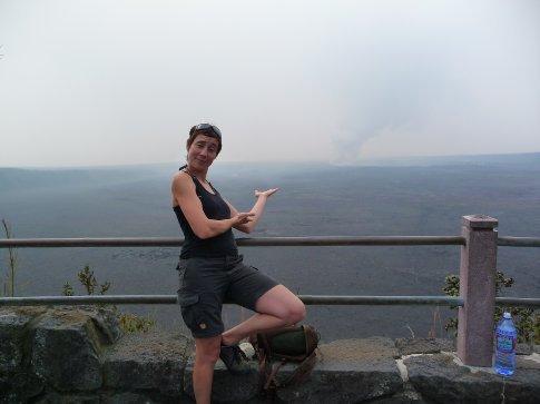 Caroline at Pele's lookout at Halema'uma'u Crater