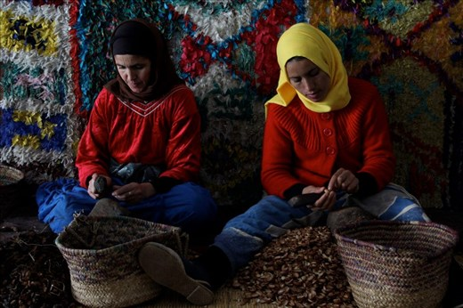 Argan - These ladies are de-shelling argan kernels which will then be pressed to