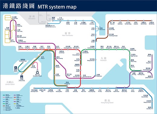 MTR Map and legend