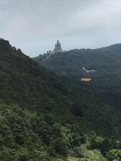View of Big Buddha from Ngong Ping 360 cable car