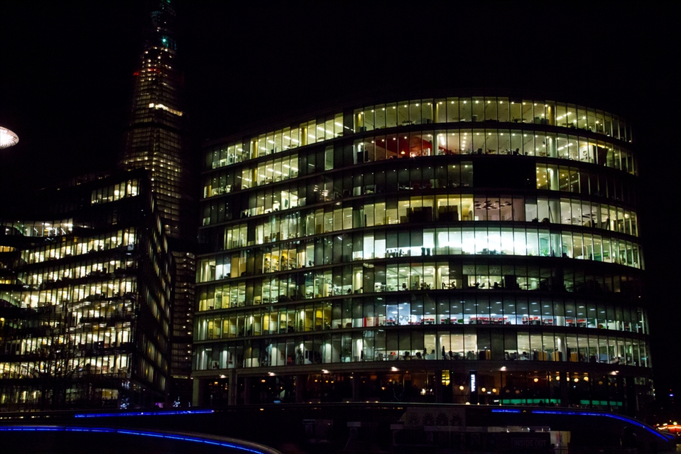 At the end of another long day. The lights stay on to keep the city 'awake'