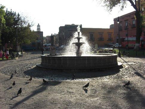 Fountain in the square opposite our hotel - Morelia