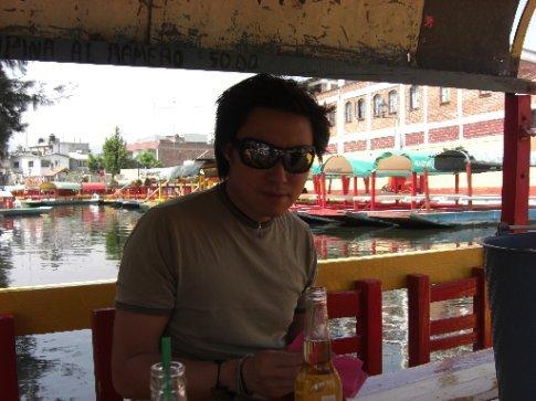 Ed on the boat at Xochimilco