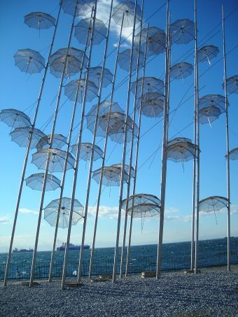 Thessaloniki.  Umbrella sculpture
