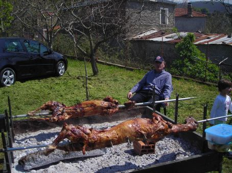 Traditional Easter lunch in Greece (Yes, I'm still vegetarian.  No, I didn't eat any!)