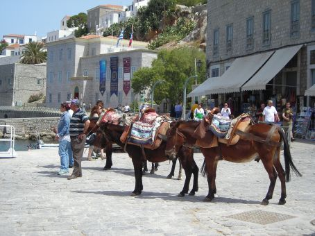 Hydra.  This is an island where there are no cars and people still use donkeys to transport things (and themselves) around.