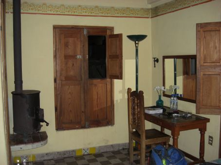 Our room with a wood burning stove