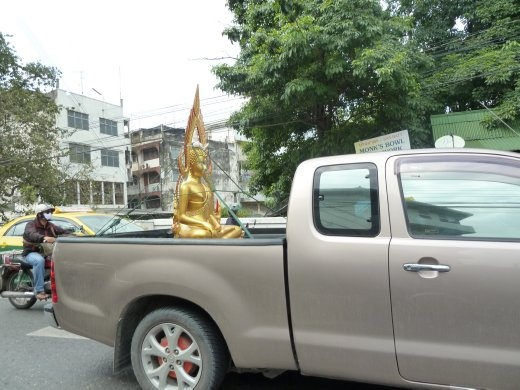 What a way to transport a treasured religious artifact!