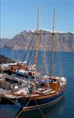 1800 scooner docked in heart of Santorini caldera.: by genkeeper, Views[141]