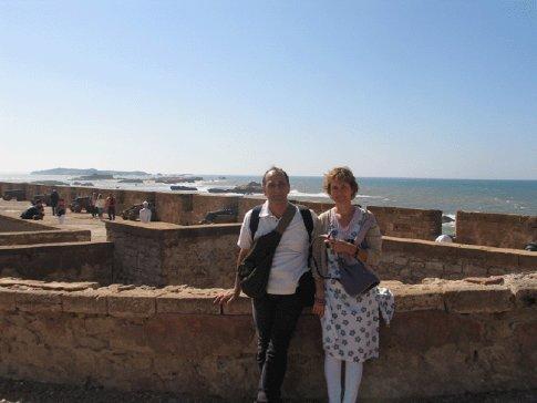 George and Janet on the Scala de la Ville, Essaouira, Morocco