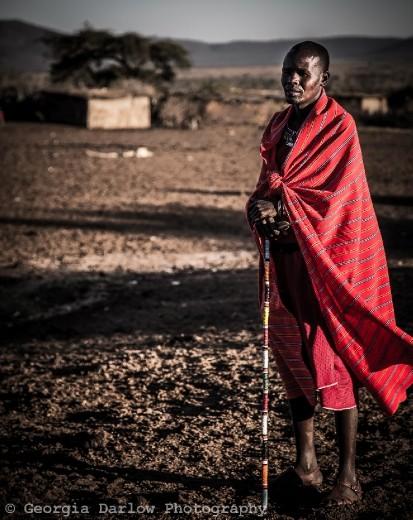 A Maasai tribesman in his village