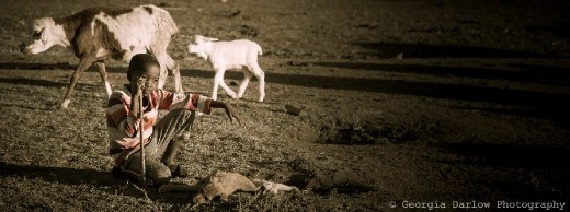 A boy helps keep watch over his herd with a loyal puppy at his feet in the Maasai Mara, Kenya