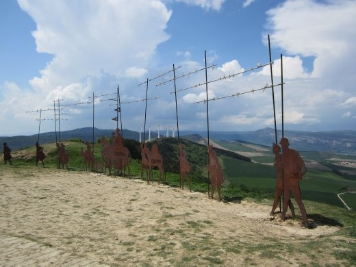 Iron sturcture at the top of Alto del Perdon, monument to pilgrims from the past, present and future