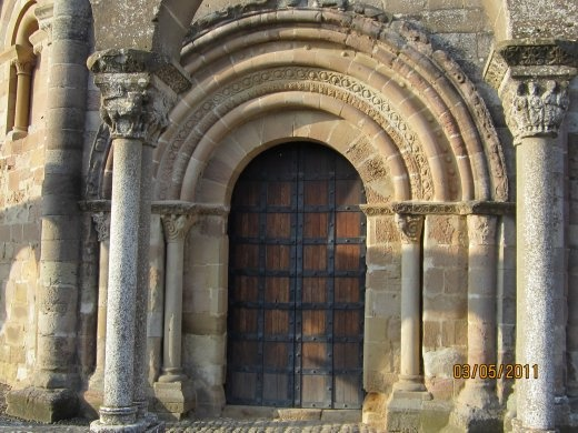 Detail of the main entrance of Eunate, which in Euskera means 100 doors