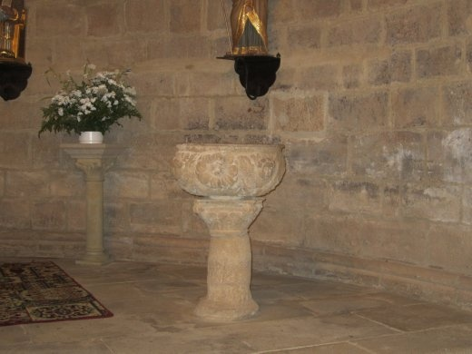 Pila bautismal, used to baptize people pouring some water on the head. Ritual practiced by the catholic church.