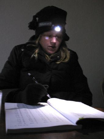 me studying during a common power outage