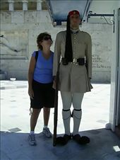 Angie gazing at an Evzone standing guard over the monument of the Unknown Soldier in Syntagma Square: by globetrottingwanabees, Views[685]