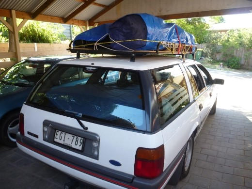 Nicely packed roof rack. Check! Food. Check! Music. Check!