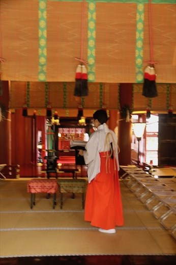 Haiden at Futarasan with attendant, Shrines and Temples of Nikko