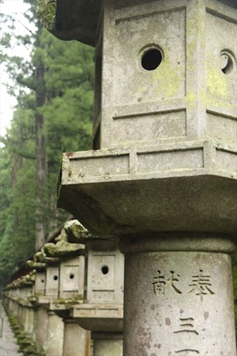 Stone lanterns light the way, Shrines and Temples of Nikko