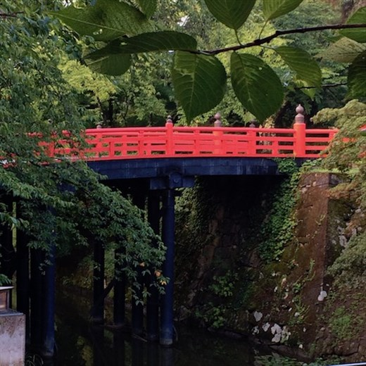 Crimson Bridge at Hirosaki Castle (by Connie)