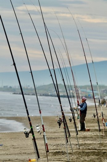 Surf fishing for salmon, Sea of Okhtosk