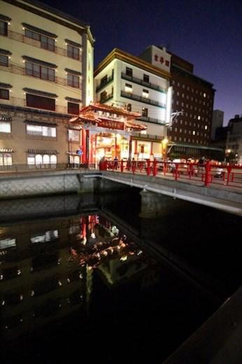 Shinchi and Dejima Canal at night