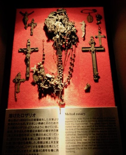 Where was god? Melted rosaries, Nagasaki A-Bomb Museum